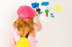 artysty palcowej dziewczyny mały obrazu papier Obrazy Stock