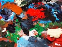 Artysty pallete akrylowi różnorodni kolory obrazy royalty free