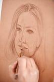 Artysty rysunku nakreślenie kobiety twarz Zdjęcie Royalty Free