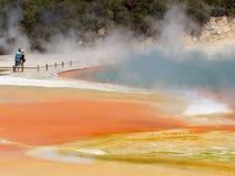 ` artysty ` s palety ` przy Wai-O-Tapu Geotermicznym terenem, Rotorua, NZ obraz stock