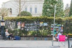 Artysty sprzedawania sztuki praca na Królewskiej ulicie Zdjęcie Royalty Free