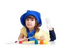 artysty tła dziewczyny dzieciak nad obrazu biel Zdjęcia Stock