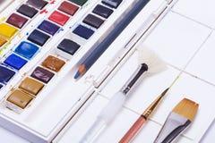 Artysty watercolour farby i farby muśnięcie Obrazy Royalty Free