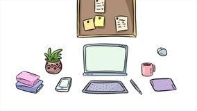 Artysty workspace wnętrze Kreskówki ministerstwo spraw wewnętrznych wstępu stylowy freelance sztandar Przedmioty pojawiać si royalty ilustracja