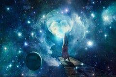 Artystyczna Cyfrowej kobieta Stoi Samotnie W Galaktycznej Światowej grafice ilustracji