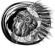 Artystyczna Indiana dziewczyny ilustracja, abstrakcja Obrazy Stock