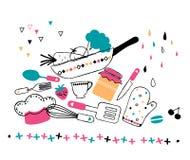 Artystyczna ręka rysująca kuchenna ilustracja Fotografia Royalty Free