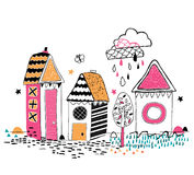 Artystyczna ręka rysujący domy Obraz Royalty Free