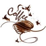 Artystyczna wektorowa kawowa ilustracja z fasolą, punktami i ptakami, royalty ilustracja