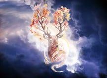 Artystycznego abstrakta Gładka woda barwił rogacze Z Drzewnym rogiem Jako Unikalny tło royalty ilustracja
