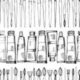 Artystyczni paintbrushes i farby wektor bezszwowy wzoru ilustracja wektor