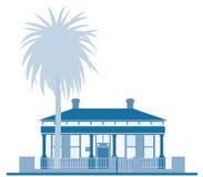 artystyczny błękit domu drzewo ilustracji
