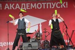 Artystyczny barmanu przedstawienie od mistrzów i mistrzów Ivan i Vitaly Obrazy Royalty Free