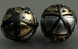 Artystyczny 3d komputer wytwarzał rendering ilustrację dwa grafika kształtująca jako futurystyczne piłki na abstrakcjonistycznym  ilustracji