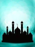 Artystyczny eid tła projekt z meczetem. royalty ilustracja