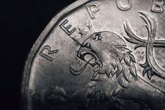 Artystyczny heraldyczny lew na Czeskiej koruna monecie koncepcja finansowego Zdjęcia Royalty Free