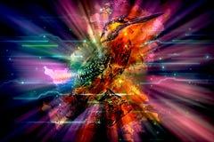 Artystyczny Kolorowy Rozjarzony ptak W Unaoczniającym Kolorowym tle ilustracja wektor
