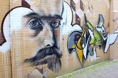 Artystyczny malowidło ścienne obraz w Leeuwarden, holandie Fotografia Stock