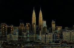 Artystyczny nakreślenie Kuala Lumpur Zdjęcia Royalty Free