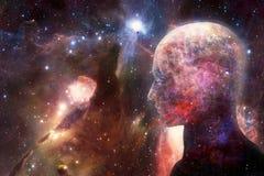 Artystyczny Nowożytny Abstrakcjonistyczny Ludzki Sztuczny Inteligentny interfejs W Stubarwnej Gładkiej mgławicy galaktyki grafice ilustracja wektor