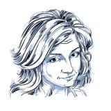 Artystyczny pociągany ręcznie wektorowy wizerunek, czarny i biały portret Fotografia Stock