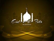 Artystyczny religijny Eid Al Fitr Mubarak karciany projekt Zdjęcia Royalty Free