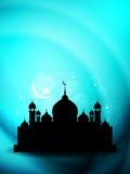 Artystyczny religijny eid tło z meczetem. ilustracji