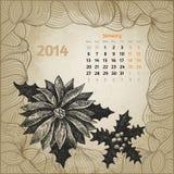 Artystyczny rocznika kalendarz z atramentu pióra ręką rysującą Obrazy Stock