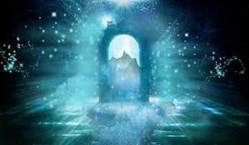 Artystyczny Stubarwny komputer Wytwarzająca 3d renderingu ilustracja A Łamającego Wysokiego nieba bramy Szklany Wymiarowy tło royalty ilustracja