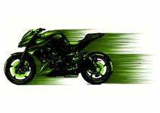 Artystyczny stylizowany motocyklu setkarz w ruchu również zwrócić corel ilustracji wektora ilustracji