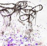 Artystyczny tło z fiołkowymi pluśnięciami Obrazy Royalty Free