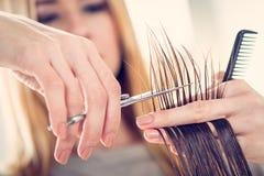 artystyczny tnący włosiany hairdress ilustraci wektor Zdjęcia Stock