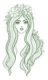 Artystyczny wektorowy rysunek piękna dziewczyna z Obraz Stock