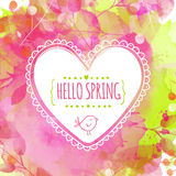 Artystyczny wiosny zieleni, menchii tło z i Ręka rysująca serce rama z ptakiem Wektorowy desi Obraz Stock