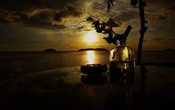 Aru för solnedgångstångtanjung arkivfoto