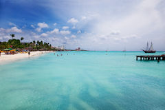 aruba海滩掌上型计算机 库存照片