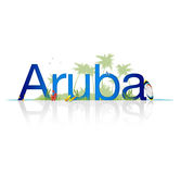 Aruba. High Resolution graphic of the word Aruba on white background with reflection Royalty Free Stock Photos