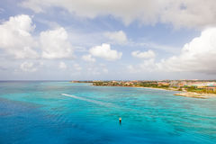 Aruba. Aerial view on turquoise waters of Aruba island royalty free stock photo
