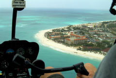 Aruba Aerial. Aruba tourist complex and beach photographed from helicopter.l royalty free stock photo