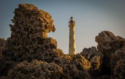 Aruba-Bild mit Kalifornien-Leuchtturm und -felsen im Vordergrund Stockfotografie