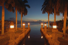 Aruba canal night view romantic site. Stock Images