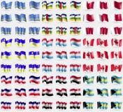 Aruba, Central African Republic, Bahrain, Buryatia, Luxembourg, Iraq, Bahamas. Big set of 81 flags. Stock Photos