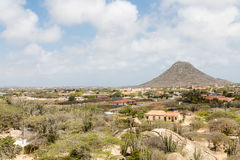 Aruba Desert Shacks with Mountain in Background Stock Photography