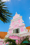 Aruba Dutch Architecture. Example of vibrant and colorful Dutch architecture on buildings in Caribbean city of downtown Oranjestad, Aruba stock photography