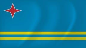 Aruba falowania flaga Zdjęcia Stock