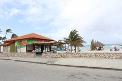 Arashi Beach in Aruba. ARUBA - FEB 11: Arashi Beach in Aruba, on Feb 11, 2018. The Arashi Beach is a participant in the Aruba Reef Care Project to clean up reefs Royalty Free Stock Photography