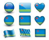The Aruba Flag. Set of icons and flags. glossy and matte on a white background Royalty Free Stock Photos
