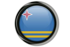 Aruba flag in the button pin Isolated on White Background Stock Images