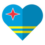 Aruba flat heart flag Stock Photography
