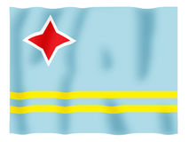 Aruba fluttering. Fluttering image of the Aruba national flag Stock Image